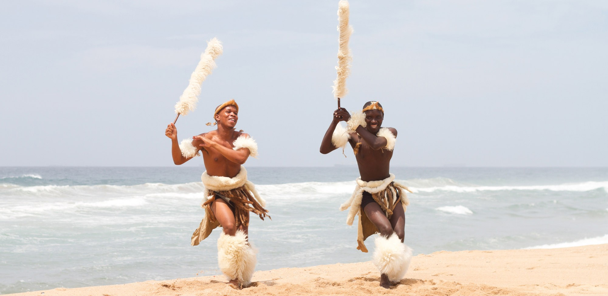Zulu dancers perform on the beaches of the Dolphin Coast.